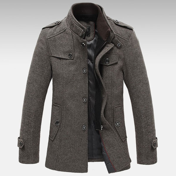 Knitted Stand Collar Wool Blend Tweed Coats Long Jackets – GonChas