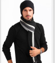 Stripe Fringed Knitted Cashmere Wool Casual Long Scarf