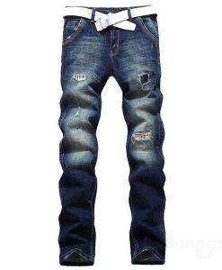 Acid Washes Baffi Holes Elastic Slim Fit Cotton Denim Jeans