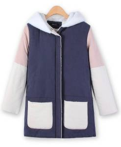 Pockets Faux Fur Patchwork Fleece Hooded Thicken Jacket