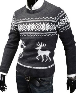New Christmas Men's Deer Pattern Crewneck Sweater Pullover Knitwear