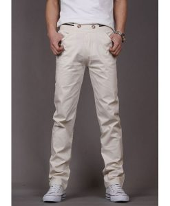 Cotton Slim Fit Chinos Elastic Waist Casual Pants