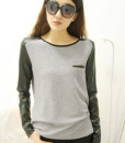 Casual Stitching PU Leather Long Sleeve T-Shirt Blouses