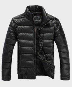 Warm Casual Cotton-Padded Shiny PU Leather Outdoors Jacket