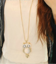 Opal Owl Crystal Rhinestone Gemstone Necklace Sweater Chain