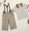 Baby Boys Cool Outfits Strips Tops+Pants+Braces