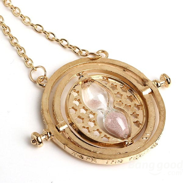 d2a2e05f8bc70 Rotating Pink Sand Hourglass Pendant Necklace Gold Plated