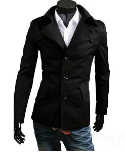 Slim Oblique Pocket Single Breasted Simple Trench Coat