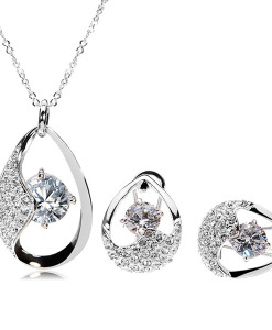 Italina Austrian Crystal Zircon Jewelry Set Necklace Earrings