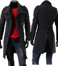 Winter Mens Fashion Jacket Long Double-breasted Woolen Collar Coat