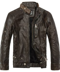 Air Force PU Leather Jacket Stand Collar Locomotive Leather Coat