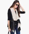 Women Black Asymmetric Sleeveless Fur PU Jacket Sweater