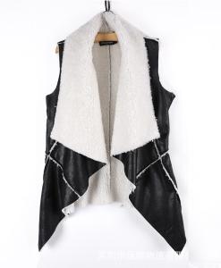 Women Black Asymmetric Sleeveless Fur PU Jacket Sweater
