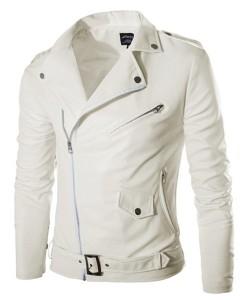 Lapel Slim Outwear Coat Diagonal Zipper Leather Jacket
