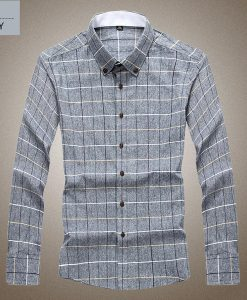 Plaid Business Casual Long-sleeve Shirt Large Size