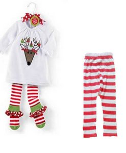 Baby Children Christmas Santa Claus White T-Shirt Striped Pants Sets