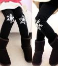 Children Girls Christmas Velvet Leggings Winter Snowflakes Pants