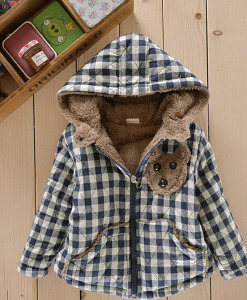 Baby Toddler Bear Fleece Coat Zipper Warm Plaids Jacket