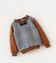 Boys Thick Tie Lattice Plaid Fur Sweater