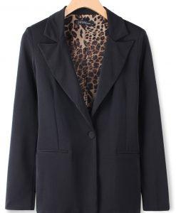 Medium-Long Chiffon Leopard Print Long Sleeve Blazer Suit