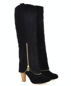 Ladies Zipper High Heel Knee High Boots Skid-proof