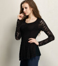 Lace Hollow Blouse Slim Long Sleeve Elegant T-Shirt