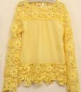 Embroidery Lace Crochet Chiffon Long Sleeve T-shirt