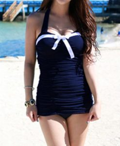 Color Block Halter Neck Bow Tie Embellished Sexy Style Women's One Piece Swimsuit