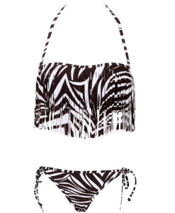 Zebra Stripes Tassel Halter Bikini