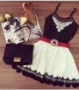 Vestido Renda Lace Crochet Sweet Mini Bodycon Chiffon Dress