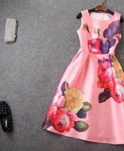Retro Style Floral Print A Line Knee Length Dress