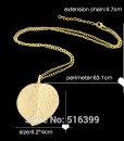 Gold Color Alloy Leaf Design Pendant Necklace
