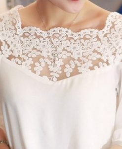 New summers loose stitching lace long sleeve blouse