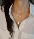 Gold Plated Fatima Hand 3 Layer Chain Bar Necklace