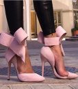 Women Big Bow Tie Pumps 2015 Butterfly Pointed Stiletto Shoes