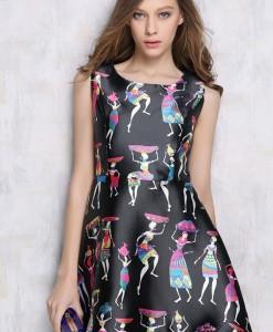 Digital Print A Line Retro Style Silk Dress