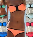 Zipper Push Up Padded Bra Swimwear Bikini Set