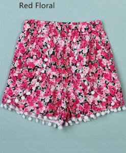Summer Beach Shorts Floral Printed Elastic Chiffon Short Pants