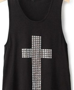 Diamond Cross Vest Tops Hollow Back Set Loose Singlet