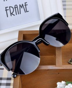Retro Cat Eye Semi-Rim Round Sunglasses
