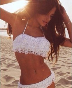 Bandeau White Lace Push Up Bikini Swimwear