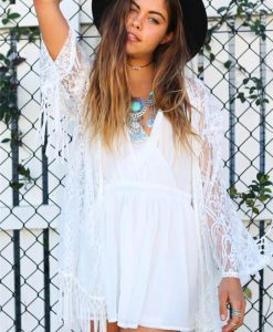 Crochet Lace Kimono with Tassels