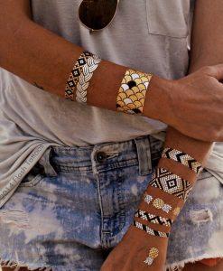 Metallic Temporary Body Tattoos- Tribal Feather Design