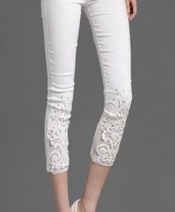 Elastic Legging Lace Mid Waist Decoration Capris Leggings