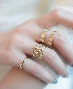 3 pc/set Gold/Silver Plated Leaves Design Midi Rings