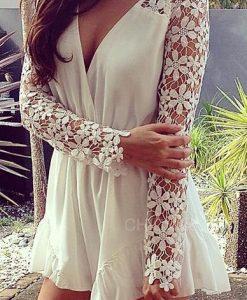 Lace Chiffon white and black Jumpsuit