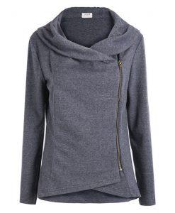 Dark Grey Long Sleeve Asymmetrical Zipper Cardigan