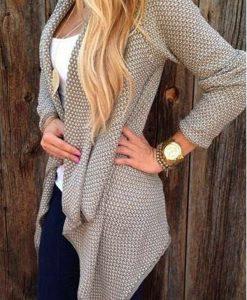 Irregular Open Front Long Sleeve Cardigan