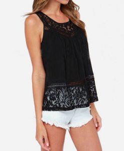 Lace Crop Top Sleeveless Singlet