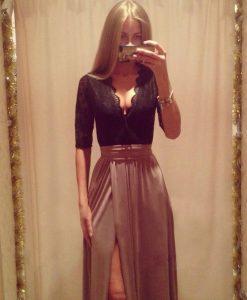 Low Cut Deep V-neck Half Sleeve Lace Dress